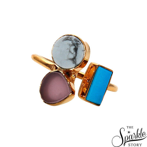 Multi Gemstone Fashion Jewelry Gold Plated Adjustable Ring (DDCRG-1)