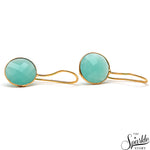 Hydro Blue Topaz Gold Plated Round Shape Alloy Earrings