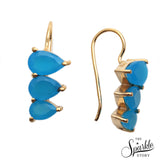 Sky Blue Chalcedony Gold Plated Pears Shape Dangle Alloy Earrings for Women and Girls