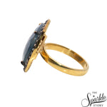 Sapphire Cubic Zircon Diamond Ring Gold Plated For Women and Girls