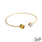 Lemon Topaz & White Druzy Gold Plated Adjustable Alloy Bangle Bracelet for Women and Girls.