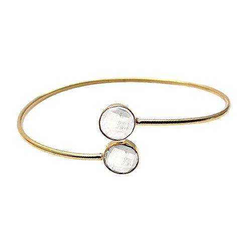 The Sparkle Story Crystal Round Shape Gold Plated Adjustable Bangle (DCLBA-19019)