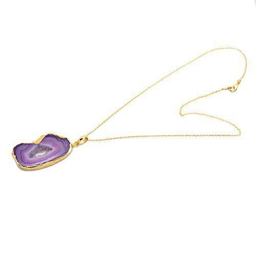 The Sparkle Story Pink Color Druzy Pendant 18' inch Chain Gold Pendant Necklace (DDP-50007)