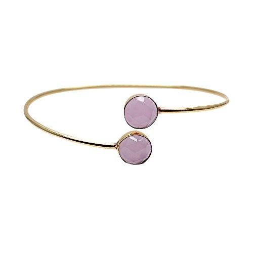 The Sparkle Story Rose Chalcedony Round Shape Gold Plated Adjustable Bangle (DRCBA-19019)
