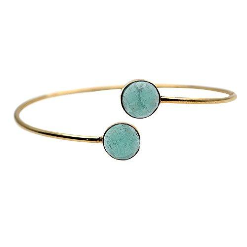 The Sparkle Story Aqua Chalcedony Round Shape Gold Plated Interlock Bangle (DADBA-19019)