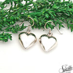 Plain Sterling Silver Heart Shape Dangle Hook Earring
