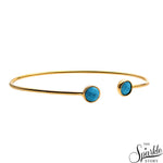Turquoise Gold Plated Adjustable Alloy Bangle Bracelet for Women and Girls