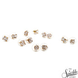 Herkrimer Diamond Free Form Shape Studs Gold