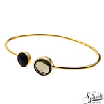 Smokey Topaz & Black Onyx Gold Plated Adjustable Bangle Bracelet for Women and Girls