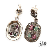 Emerald With Ruby Sterling Silver Pendant Earring & Ring Jewelry Set