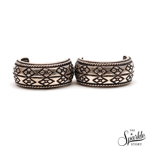 Ethnic Motif Baali Oxidized Sterling Silver Hoop Earrings