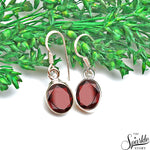 Garnet 14x8mm Sterling Silver Hook Earring