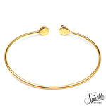 Black & Lemon  Druzy Gold Plated Round Adjustable Alloy Bangle Bracelet