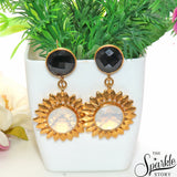 White Opal & Black Onyx Gold Finding Dangle Stud Selene Earring (DGDER-90001)