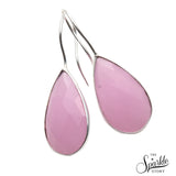 Rose Chalcedony Silver Plated Dangle Earrings for Women and Girls