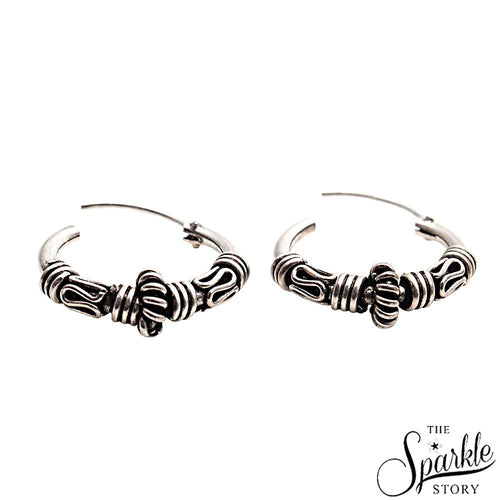 Wire Wrapped Hinged Vintage Look Oxidised Sterling Silver Hoop Earring (DSS-90026)