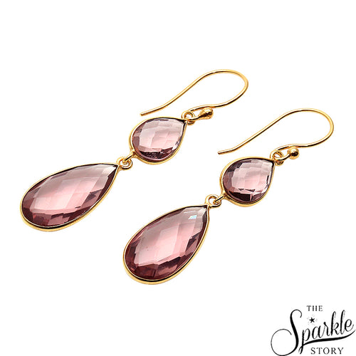 Morganite Gold Plated Pears Shape Dangle Earrings for Women and Girls