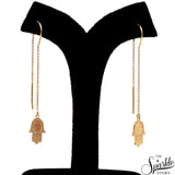 Hamsa Finding Gold Plated Free Form Shape Alloy Dangle Earrings