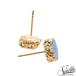 Blue Geode Druzy Stud Gold Electroplated Stud Earring