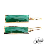Green Onyx Gold Plated Dangel Earring For Women and Girls