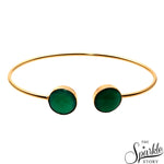 Green Onyx Gold Plated Round Shape Adjustable Bangle Bracelet for Women and Girls
