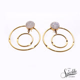 White Druzy Gold Plated Round Shape Dangle Earrings for Women and Girls