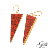 Red Sediment jasper Triangle Shape Gold Plating Dangle Earrings for Women and Girls