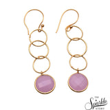 Rose Chalcedony Round Shape Gold Plated Dangle Earring