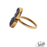 Green Druzy Gold Plated Ring For Women and Girls