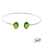 Peridot Bangle Silver Plated Adjustable Bangle Bracelet for Women and Girls