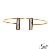 Howlite Gold Plated Rectangle Shape Adjustable Bangle Bracelet for Women and Girls