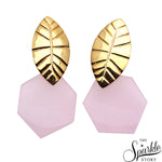 Rose Chalcedony Gold Plated Finding Dangle Stud Freya Earring (DGPRC-90019)