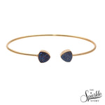 Blue Druzy Gold Plated Trillion Shape Adjustable Bangle Bracelet for Women and Girls