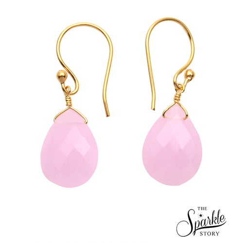 Rose Chalcedony Gold Plated Pears Shape Dangle Alloy Earrings for Women and Girls