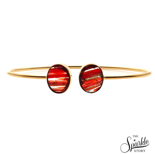Red Copper Infused Gold Plated Oval Shape Adjustable Bangle Bracelet for Women and Girls
