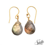 Labradorite Gold Plated Pears Shape Dangle Earrings for Women and Girls