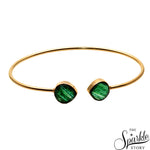 Green Copper Infused Gold Plated Adjustable Bangle Bracelet for Women and Girls