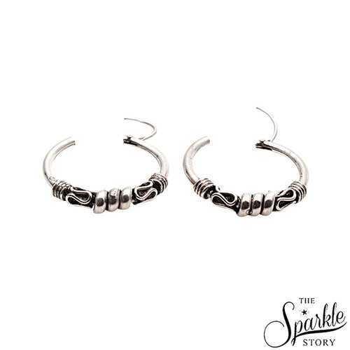 The Sparkle Story Wire Wrapped Hinged Vintage Look Oxidised Sterling Silver Hoop Earring (DSS-90016)