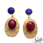 Ruby & Blue Chalcedony Gold Finding Dangle Stud Aphrodite Earring (DGDER-90006)