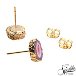 Druzy Gold Plated Stud Earring For Women and Girls
