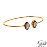 Copper Infused Gold Plated Marquise Shape Adjustable Bangle Bracelet for Women and Girls