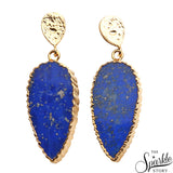Lapis Lazuli Gold Plated Finding Dangle Stud Nile Earring (DGPLP-90037)