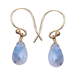 Rainbow Moonstone Gold Plated Pears Shape Dangle Earrings for Women and Girls