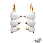 White Agate Gold Plated Pears Shape Dangle Earrings for Women and Girls