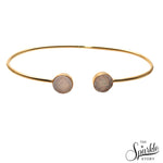 White Druzy Gold Plated Round Shape Adjustable Bangle Bracelet for Women and Girls
