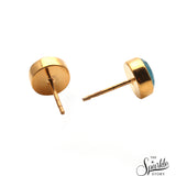 Monalisa Round Studs Gold Plated Earrings for Women and Girls