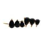 Black Onyx Gold Plated Pears Shape Dangle Earrings for Women and Girls