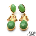 Chrysoprase Oval Shape Gold Finding Dangle Earring