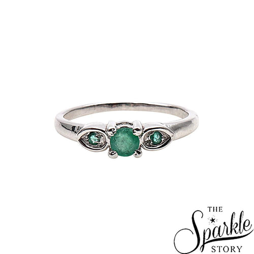 The Sparkle Story Emerald Statement Sterling Silver Ring Size-17 (DSS-12028)