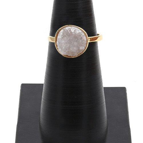 White Druzy Round Shape 12mm Gold Plated Adjustable Ring (DWZRG-12009)